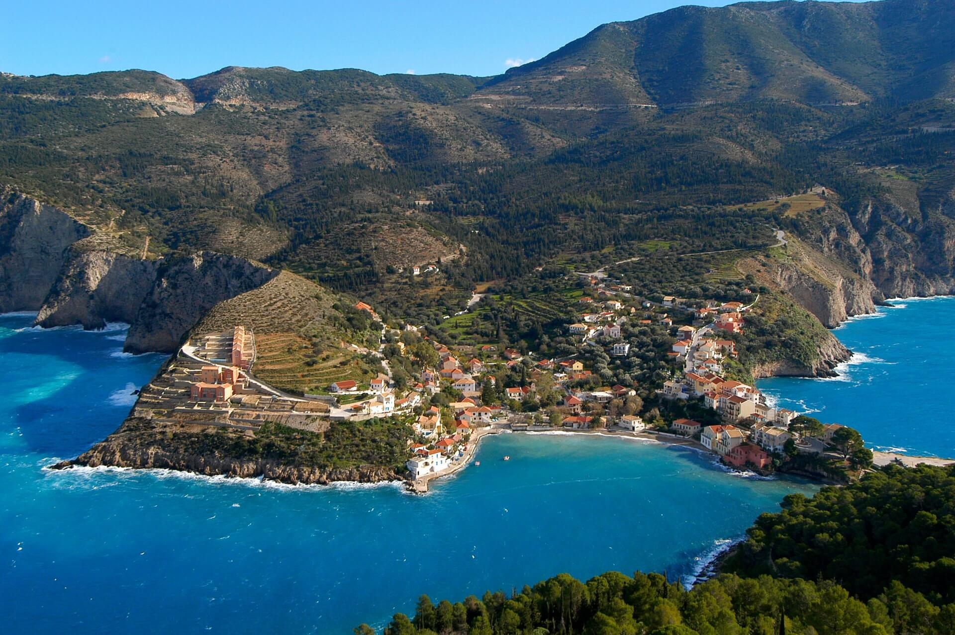 The village of Assos at Kefalonia, near the Myrtos beach