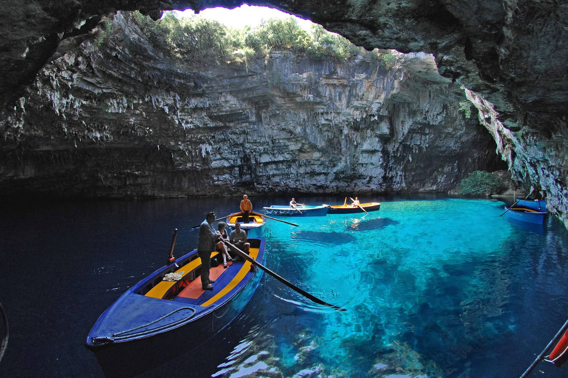 Open cave of Melissani at Kefalonia